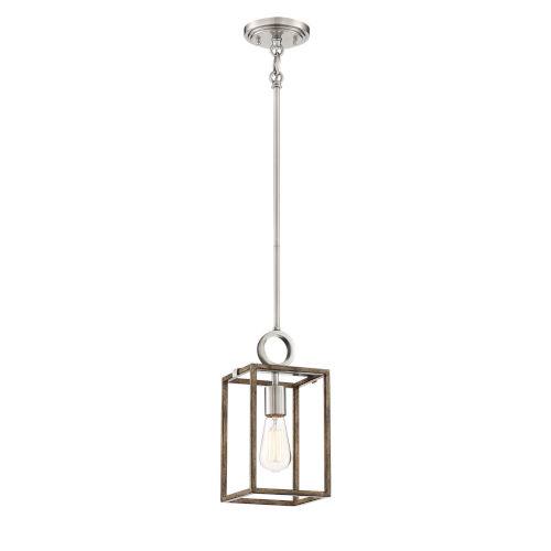 Country Estates Sun Faded Wood With Brushed Nickel One-Light Mini-Pendant