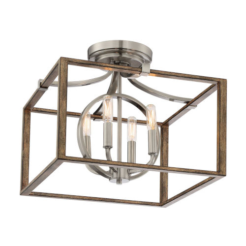 Country Estates Sun Faded Wood With Brushed Nickel Four-Light Semi-Flush Mount
