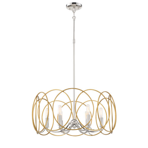 Chassell Painted Honey Gold With Polish Six-Light Pendant