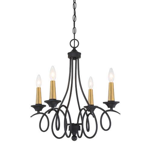 La Courbe Black With Antique Brass Four-Light Chandelier