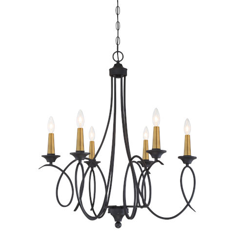 La Courbe Black With Antique Brass Six-Light Chandelier