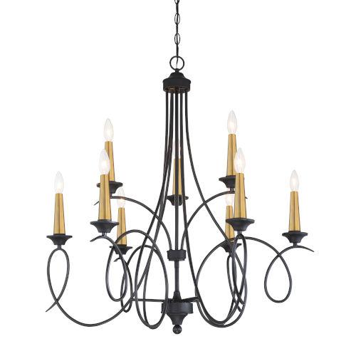 La Courbe Black With Antique Brass Nine-Light Chandelier