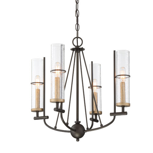 Sussex Court Smoked Iron With Aged Gold Four-Light Chandelier
