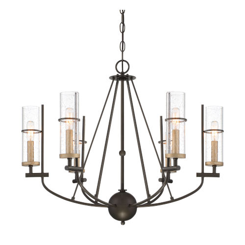 Sussex Court Smoked Iron With Aged Gold 28-Inch Six-Light Chandelier