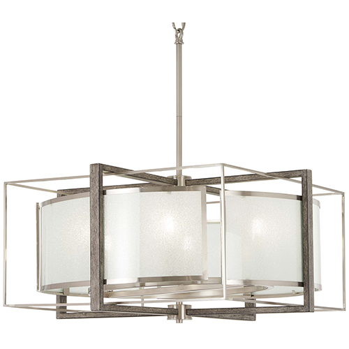 Tysons Gate Brushed Nickel with Shale Wood Six-Light Pendant