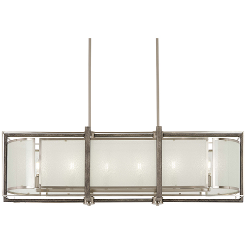 Tysons Gate Brushed Nickel with Shale Wood Six-Light Island Pendant