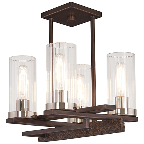 Maddox Roe Iron Ore with Gold Dust Highlight Four-Light Semi Flush Mount