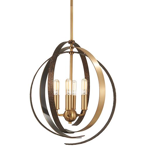 Criterium Aged Brass with Textured Iron Four-Light Pendant