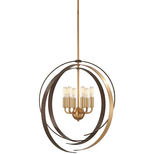 Criterium Aged Brass with Textured Iron 26-Inch Six-Light Pendant