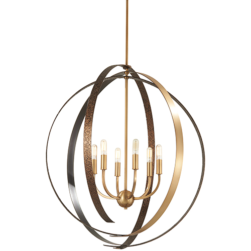 Criterium Aged Brass with Textured Iron 30-Inch Six-Light Pendant