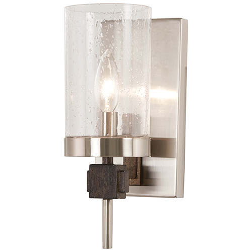 Bridlewood Stone Grey with Brushed Nickel One-Light Bath Sconce
