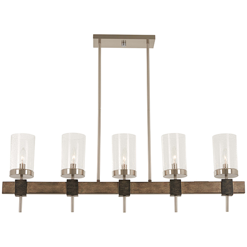 Bridlewood Stone Grey with Brushed Nickel Five-Light Island Pendant