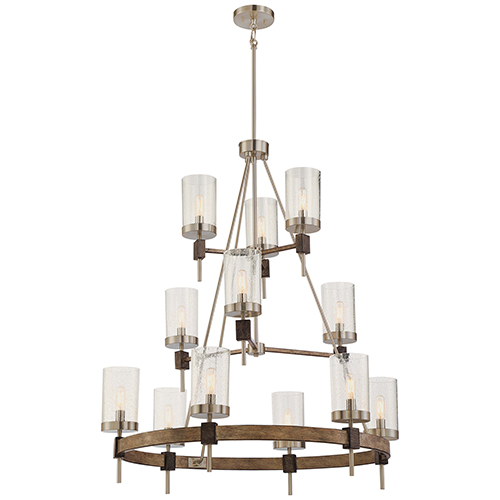 Bridlewood Stone Grey with Brushed Nickel 12-Light Chandelier