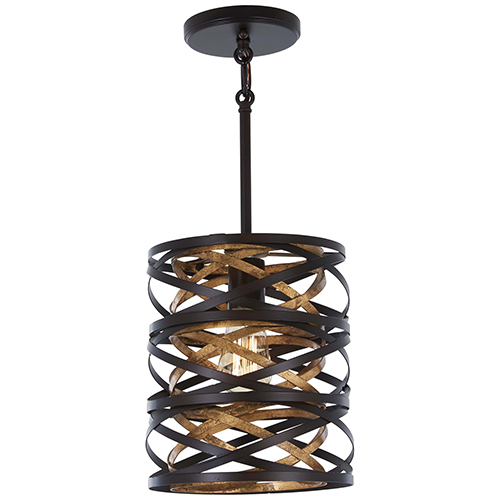 Vortic Flow Dark Bronze with Mosaic Gold One-Light Mini Pendant