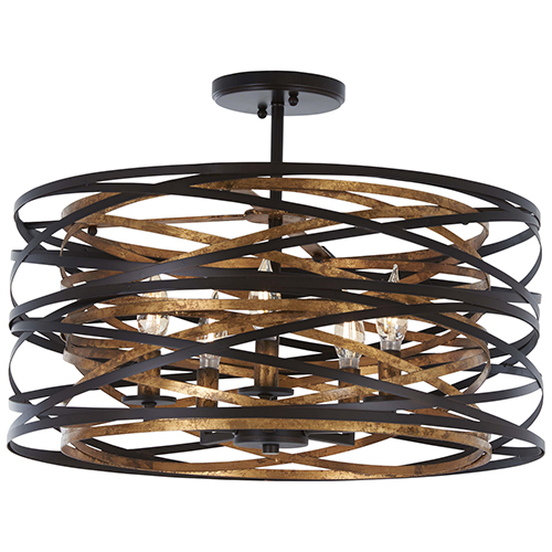 Vortic Flow Dark Bronze with Mosaic Gold Five-Light Semi Flush Mount