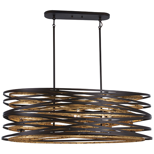 Minka-Lavery Vortic Flow Dark Bronze with Mosaic Gold Eight-Light Island Pendant