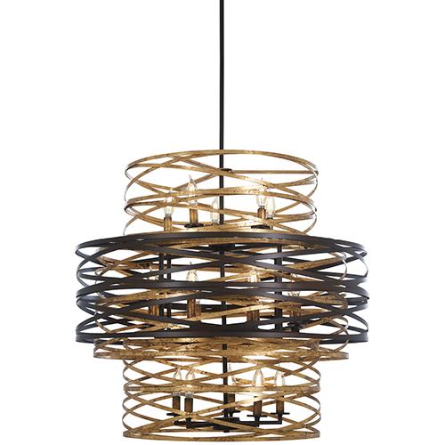 Vortic Flow Dark Bronze with Mosaic Gold 18-Light Chandelier