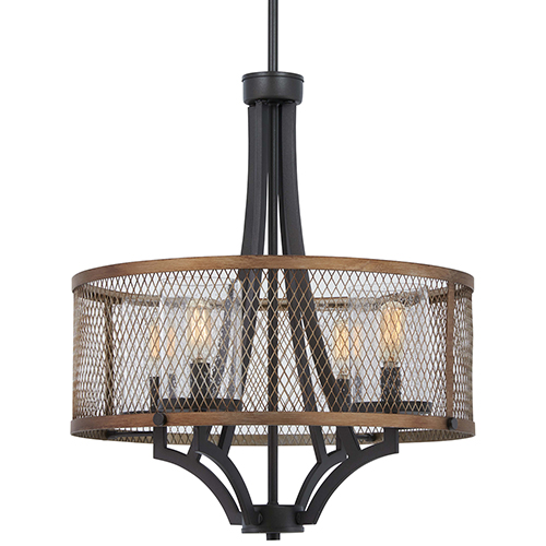 Marsden Commons Smoked Iron with Aged Gold Four-Light Pendant