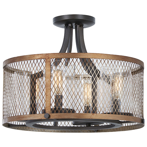 Marsden Commons Smoked Iron with Aged Gold Four-Light Semi Flush Mount