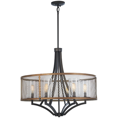 Marsden Commons Smoked Iron with Aged Gold Six-Light Chandelier