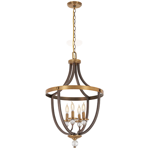 Safra Harvard Court Bronze with Natural Brushed Brass Four-Light Pendant