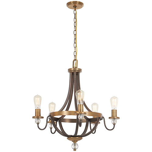 Minka-Lavery Safra Harvard Court Bronze with Natural Brushed Brass Five-Light Chandelier