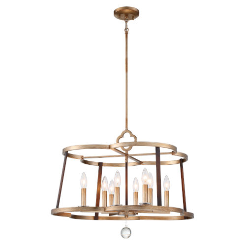 Ava Libertine Pale Gold With Distressed Bronze 26-Inch Eight-Light Chandelier