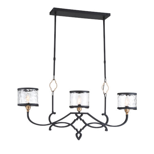 Wyndmere Sand Black With Gold Highlight Three-Light Chandelier