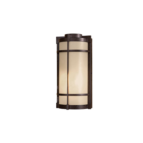 Andrita Court Textured French Bronze One-Light Outdoor Wall Mount with Pear Mist Glass