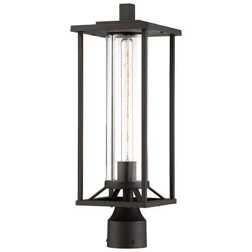 Trescott Black One-Light Outdoor Post Mount