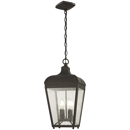 Minka-Lavery Marquee Oil Rubbed Bronze with Gold Highlights Four-Light Outdoor Pendant