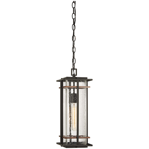 San Marcos Black with Antique Copper Accents One-Light Outdoor Pendant