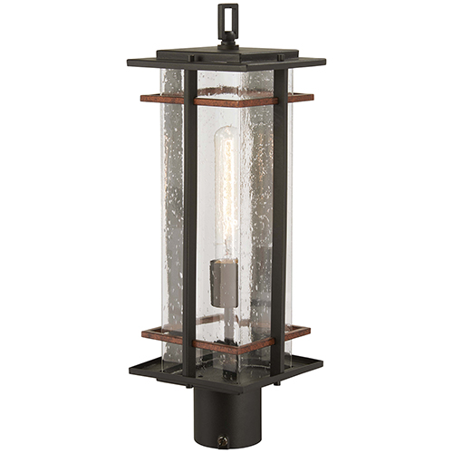 San Marcos Black with Antique Copper Accents One-Light Outdoor Post Mount