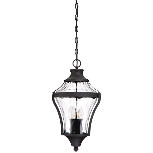 Minka-Lavery Libre Black Four-Light Outdoor Pendant with Water Glass
