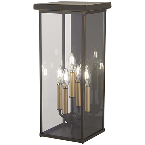 Minka-Lavery Casway Oil Rubbed Bronze with Gold Highlights 22-Inch Five-Light Outdoor Wall Sconce