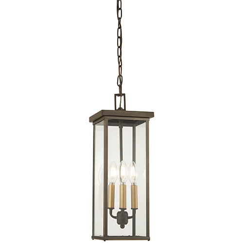 Casway Oil Rubbed Bronze with Gold Highlights Four-Light Outdoor Pendant