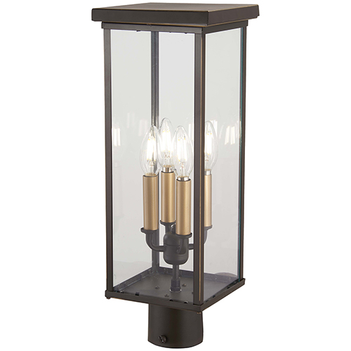 Minka-Lavery Casway Oil Rubbed Bronze with Gold Highlights Four-Light Outdoor Post Mount