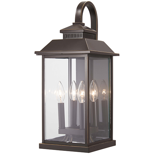 Miners Loft Oil Rubbed Bronze with Gold Highlights 21-Inch Four-Light Outdoor Wall Sconce