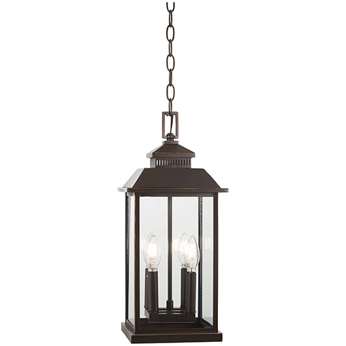 Minka-Lavery Miners Loft Oil Rubbed Bronze with Gold Highlights Four-Light Outdoor Pendant