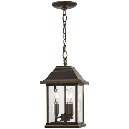 Mariners Pointe Oil Rubbed Bronze with Gold Highlights Three-Light Outdoor Pendant