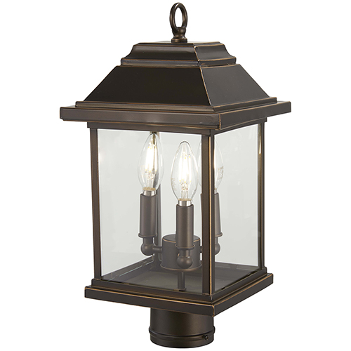 Mariners Pointe Oil Rubbed Bronze with Gold Highlights Three-Light Outdoor Post Mount