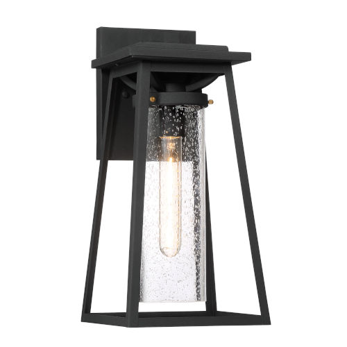 Lanister Court Black With Gold Eight-Inch One-Light Outdoor Wall Mount