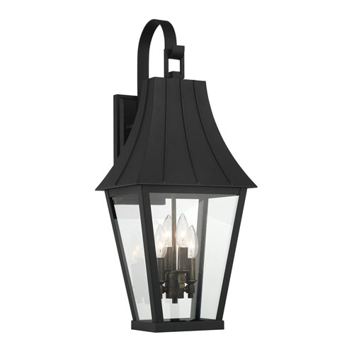 Chateau Grande Coal with Gold Four-Light Outdoor Wall Mount