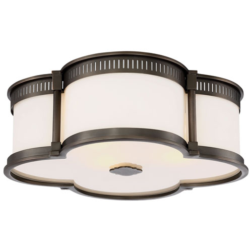Harvard Court Bronze 16-Inch LED Flush Mount with Etched White Glass