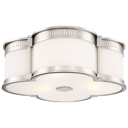 Polished Nickel 16-Inch LED Flush Mount with Etched White Glass