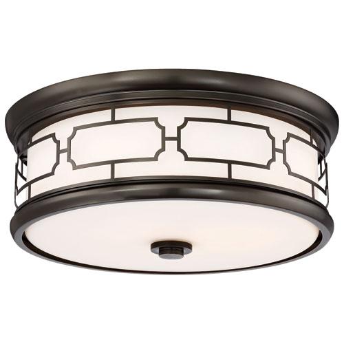Lattice Drum Bronze 16-Inch LED Flush Mount with Opal Glass