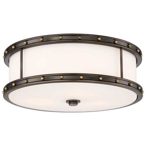 Drum Bronze and Gold 16-Inch LED Flush Mount