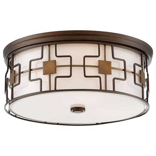Dark Brushed Bronze and Aged Brass 16-Inch LED Flush Mount