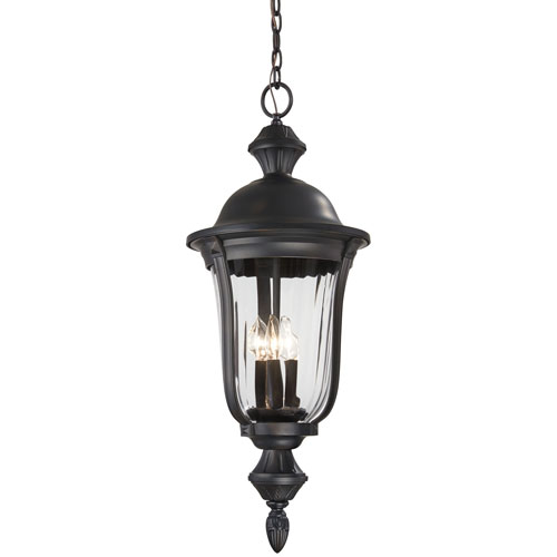 Morgan Park Heritage Three-Light Outdoor Pendant with Clear Glass