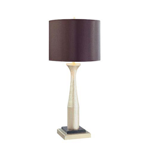 Ambience Antique Silver One Light Table Lamp With Black Shade With Gold Inside
